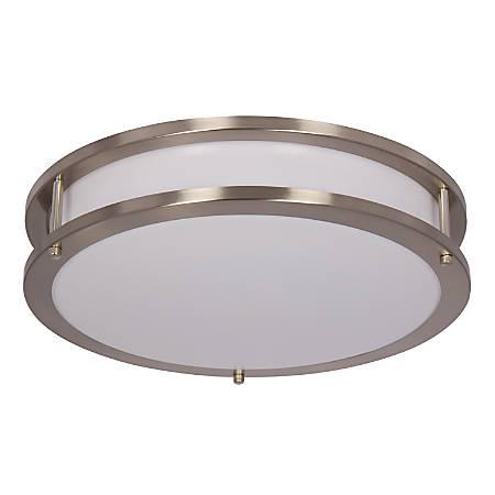 "Luminance LED Round Flush Ceiling Mount Fixture, 12"", 20 Watts, 4000K/Cool White, 1750 Lumen, Bright Satin Nickel/White Lens"