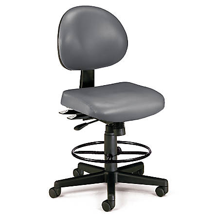 OFM 24-Hour Anti-Microbial Computer Task Chair With Drafting Kit, Charcoal/Black