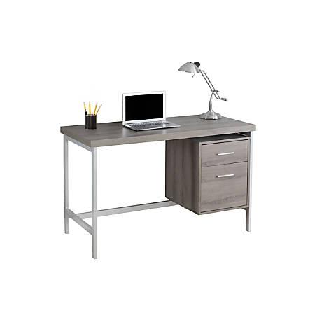 Monarch Specialties Contemporary Computer Desk , 2-Drawers, Dark Taupe/Silver