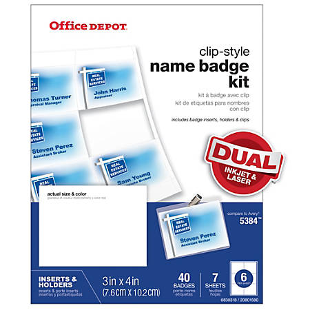 """Office Depot® Brand Top-Load Name Badge Holders, Clip-Style, 3"""" x 4"""", Clear, Box Of 40"""