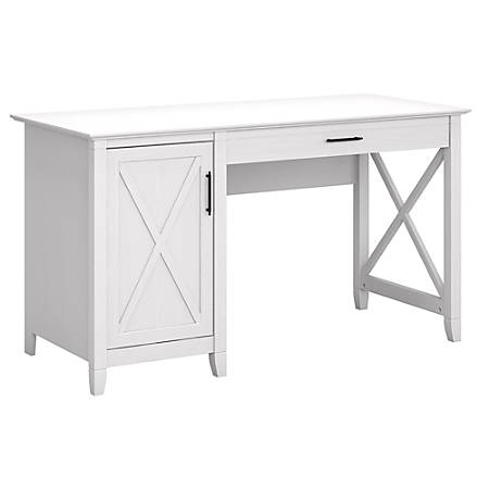 "Bush Furniture Key West 54""W Computer Desk With Storage, Pure White Oak, Standard Delivery"