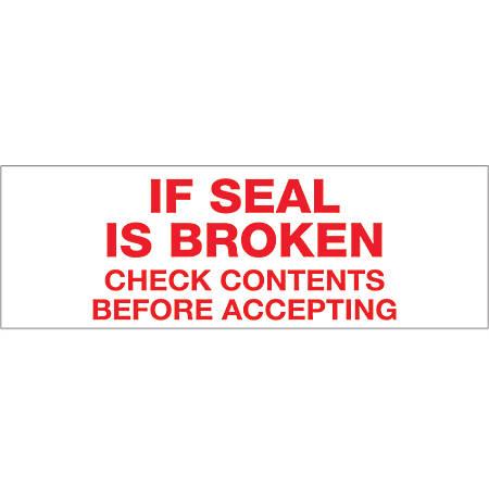 "Tape Logic® If Seal Is Broken Preprinted Carton Sealing Tape, 3"" Core, 3"" x 110 Yd., Red/White, Case Of 6"