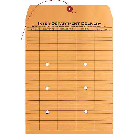 """Business Source 2-sided Inter-Department Envelopes, 10"""" x 13"""", 28 Lb, Kraft, Box Of 100"""