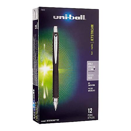 uni-ball® Jetstream™ RT Retractable Ballpoint Pens, Bold Point, 1.0 mm, Black Barrel, Black Ink, Pack Of 12