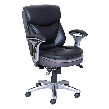 Serta® Smart Layers Verona Bonded Leather Mid-Back Manager Chair, Black