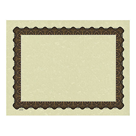 "Great Papers! Metallic Border Printed Parchment Certificates, 8 1/2"" x 11"", Gold, Pack of 25"
