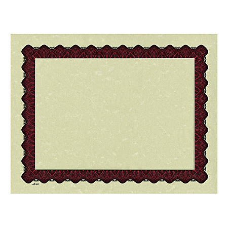 "Great Papers! Metallic Border Printed Parchment Certificates, 8 1/2"" x 11"", Red, Pack of 25"