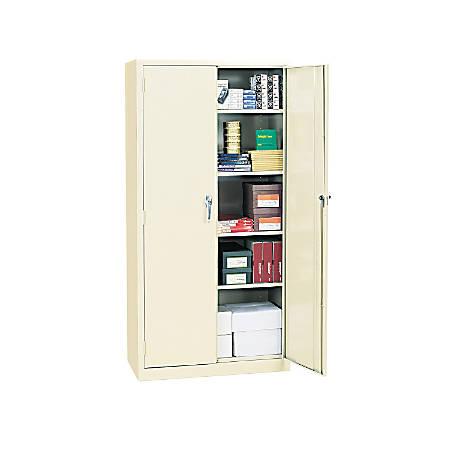 "Alera Steel Storage Cabinet, 5 Adjustable Shelves, 72""H, Putty"