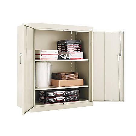 "Alera Steel Storage Cabinet, 3 Adjustable Shelves, 42""H, Putty"