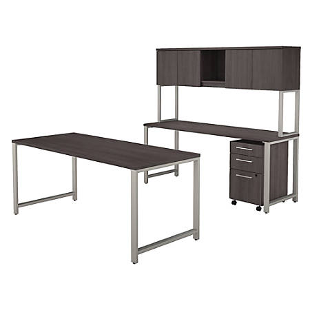 "Bush Business Furniture 400 Series 72""W x 30""D Table Desk And Credenza With Hutch And 3 Drawer Mobile File Cabinet, Storm Gray, Premium Installation"