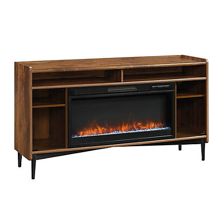 Sauder® Harvey Park Entertainment Credenza With Fireplace, Grand Walnut