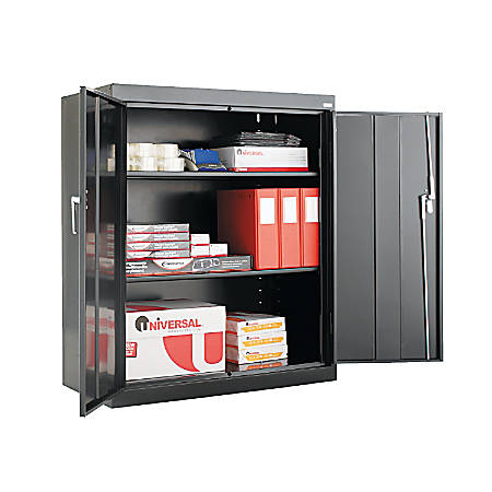 "Alera Steel Storage Cabinet, 3 Adjustable Shelves, 42""H, Black"