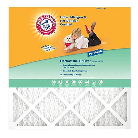 "Arm & Hammer Enhanced Pet Fresh Air Filters, 24""H x 24""W x 1""D, Pack Of 4 Filters"