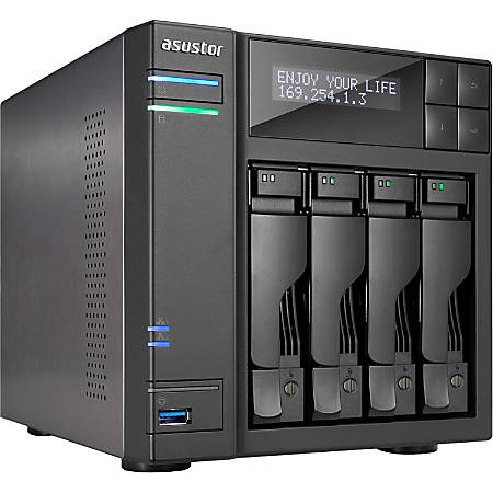 ASUSTOR NAS Server, Intel Core i3 Dual-Core (2 Core), 2GB Memory, AS7004T