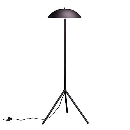 "Southern Enterprises Latimer 2-Light LED Floor Lamp, 50""H, Matte Black And White Shade/Matte Black Base"