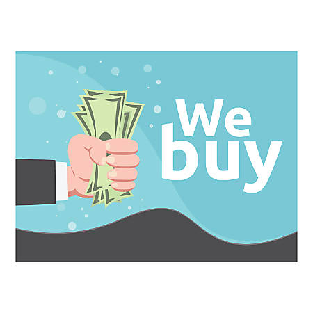 Plastic Sign, We Buy, Horizontal