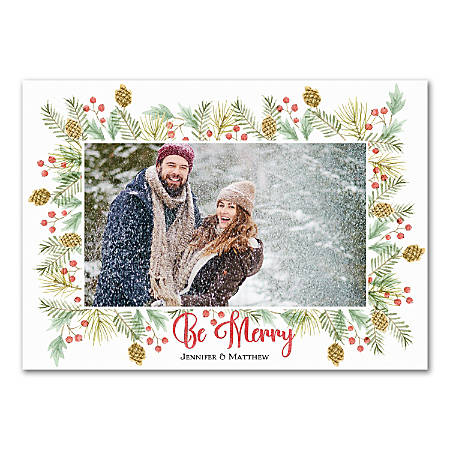 """Custom Photo Holiday Cards With Envelopes, 7"""" x 5"""", Be Merry, Box Of 25 Cards"""