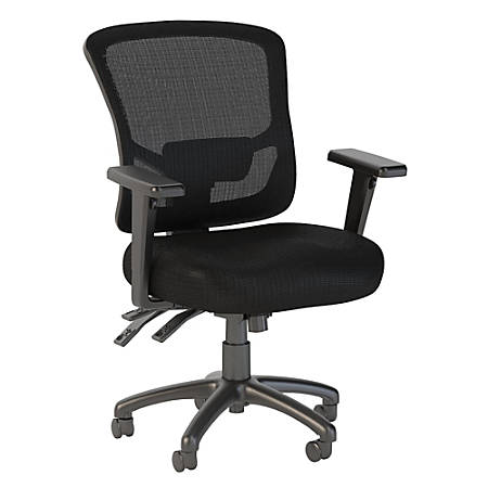 Bush Business Furniture Custom Comfort Mid Back Multifunction Mesh Office Chair, Black, Standard Delivery