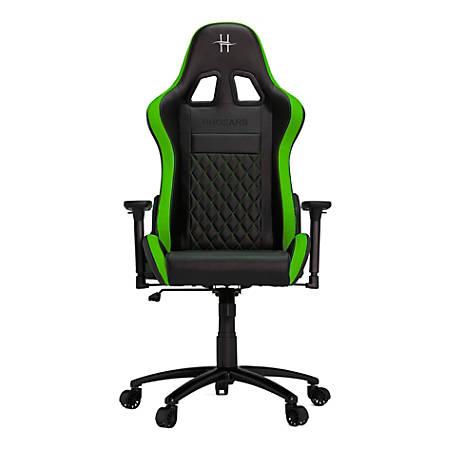 HHGears XL 500 PC Gaming Racing Chair With Headrest, Green/Black