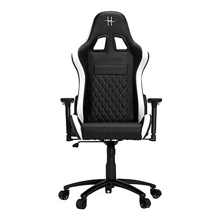 HHGears XL 500 PC Gaming Racing Chair With Headrest, White/Black