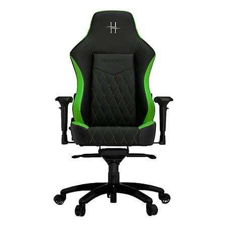 HHGears XL 800 PC Gaming Racing Chair With Headrest, Green/Black