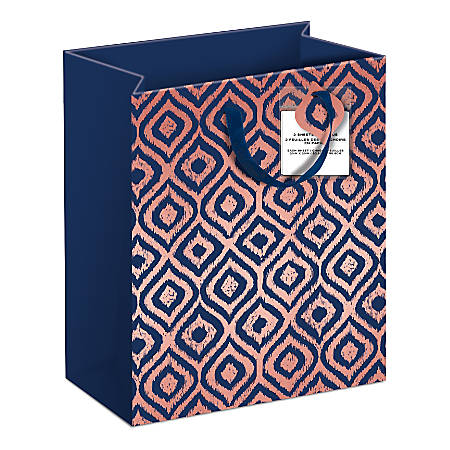 """Lady Jayne Gift Bag With Tissue Paper, Hang Tag, Vertical, Rose Gold Geometric Shapes, 6-1/4""""H x 8-1/2""""W x 3-1/2""""D"""