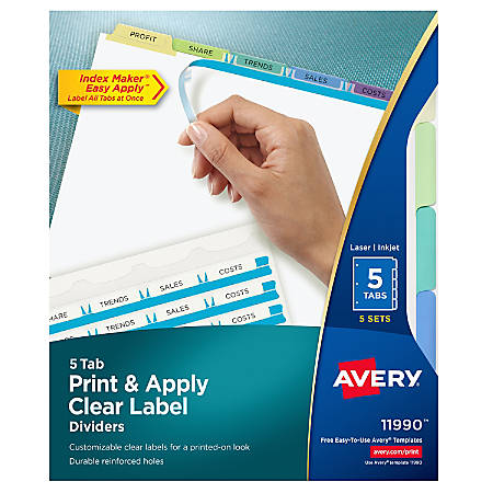 Avery® Print & Apply Clear Label Dividers With Index Maker® Easy Apply™ Printable Label Strip And Color Tabs, 5-Tab, Contemporary Multicolor, Pack Of 5 Sets