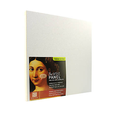 """Ampersand Artist Panel Canvas Texture Cradled Profile, 12"""" x 12"""", 3/4"""", Pack Of 2"""