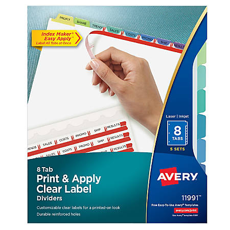Avery® Print & Apply Clear Label Dividers With Index Maker® Easy Apply™ Printable Label Strip And Color Tabs, 8-Tab, Contemporary Multicolor, Pack Of 5 Sets