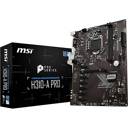 MSI H310-A PRO Desktop Motherboard - Intel H310 Chipset - Socket LGA-1151 - ATX - 1 x Processor Support - 32 GB DDR4 SDRAM Maximum RAM - 2.67 GHz, 2.40 GHz, 2.13 GHz Memory Speed Supported - DIMM, UDIMM - 2 x Memory Slots - Serial ATA/600 Controller