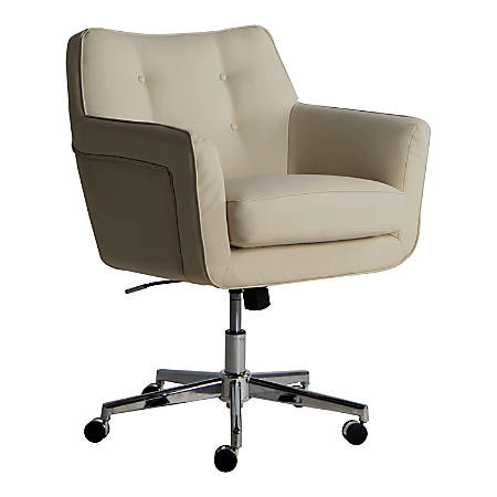 Serta Ashland Home Mid-Back Office Chair, Leather, Cream/Chrome