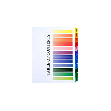 30% Recycled One-Step Index Sheets, Jan-Dec, Letter Size, Assorted Colors, Set Of 12 (AbilityOne 7530-01-368-3490)