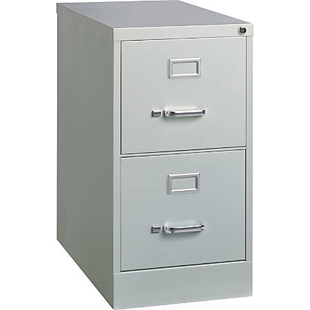 """Lorell® Fortress 25""""D Vertical 2-Drawer Letter-Size File Cabinet, Metal, Light Gray"""