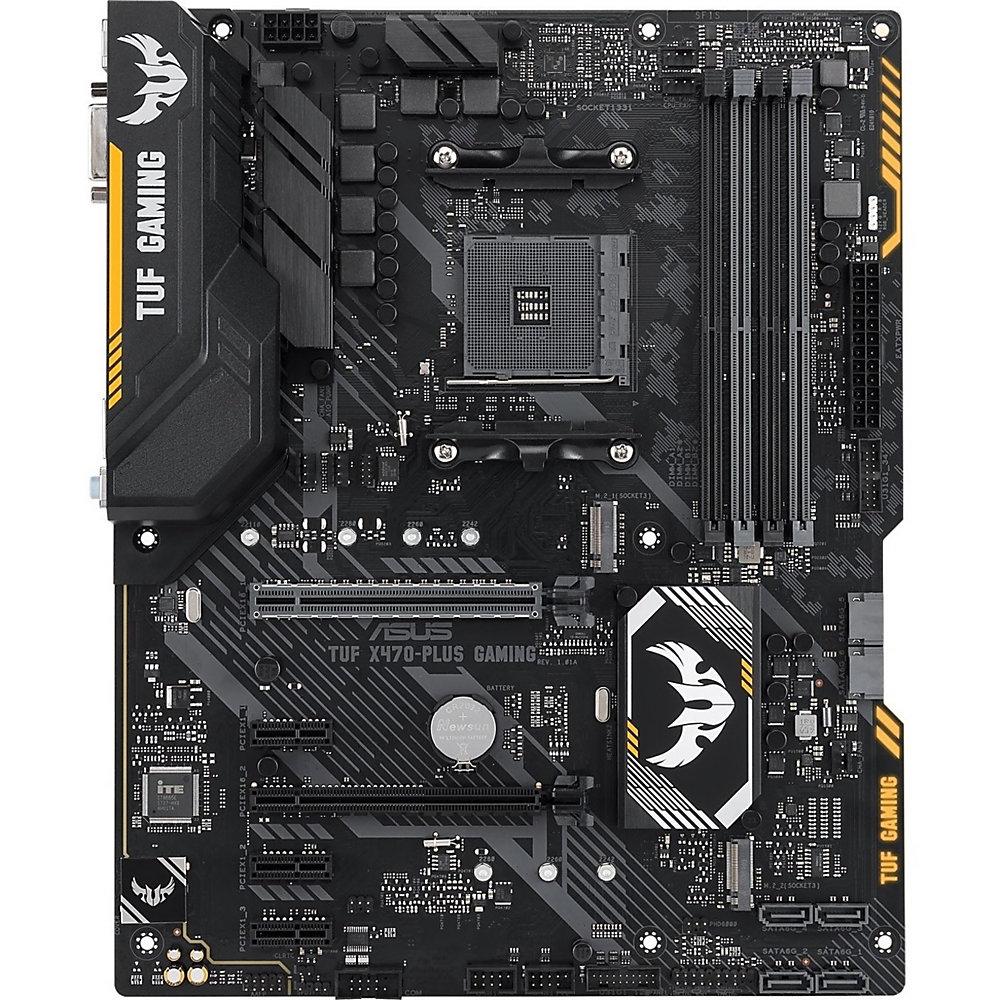 TUF X470-Plus Gaming Desktop Motherboard - AMD Chipset - Socket AM4 - 64 GB DDR4 SDRAM Maximum RAM - DIMM, UDIMM - 4 x Memory Slots - Gigabit Ethernet