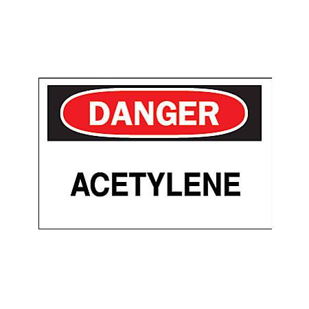 Chemical & Hazardous Material Signs, Danger, Acetylene, White/Red/Black