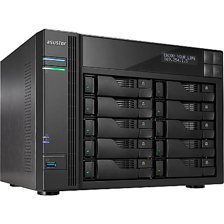 ASUSTOR SAN/NAS Storage System, Intel Celeron Quad-Core (4 Core), 4GB Memory, AS6210T