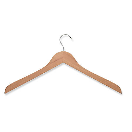 Honey-Can-Do Cedar Wooden Top Hangers, Natural, Pack Of 10