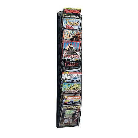 Safco 10 Pocket Mesh Magazine Rack Black