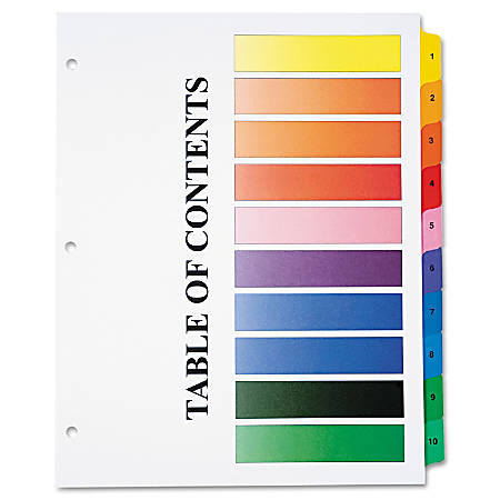 30% Recycled One-Step Index Sheets, 1-10, Letter Size, Assorted Colors, Set Of 10 (AbilityOne 7530-01-368-3489)