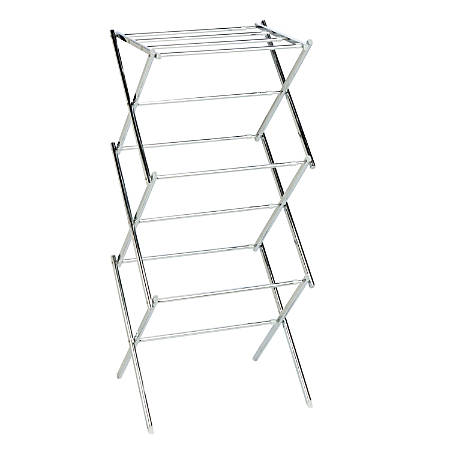 "Honey-Can-Do Expandable Drying Rack, 41 1/2""H x 14 1/2""W x 30 1/2""D, Chrome"