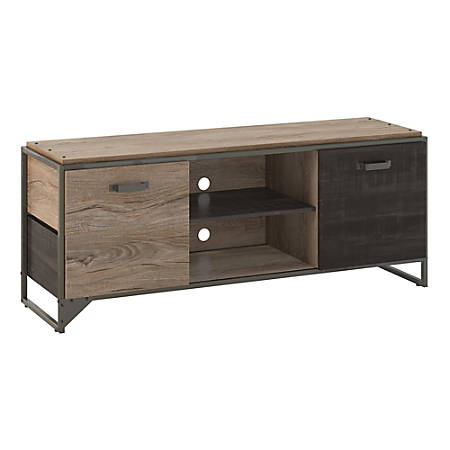 """Bush Furniture Refinery 60""""W TV Stand For 70"""" TVs, Rustic Gray/Charred Wood, Standard Delivery"""