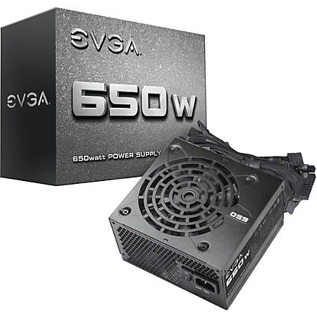 EVGA 650W Power Supply - Internal - 120 V AC, 230 V AC Input - 650 W / 3.3 V DC, 5 V DC, 12 V DC, 5 V DC, -12 V DC - 1 +12V Rails - 1 Fan(s)
