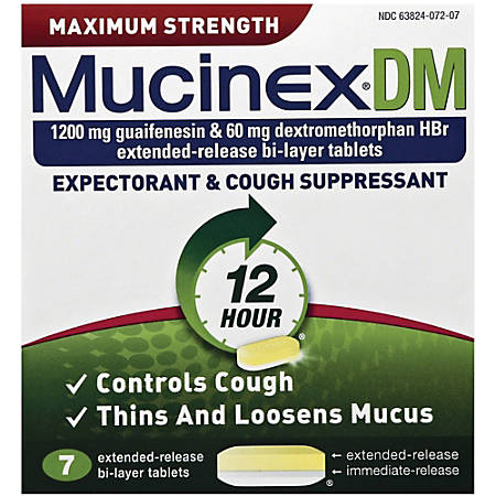 Mucinex DM Cough Tablets - For Cough, Nasal Congestion, Chest Congestion, Runny Nose - 7 / Box