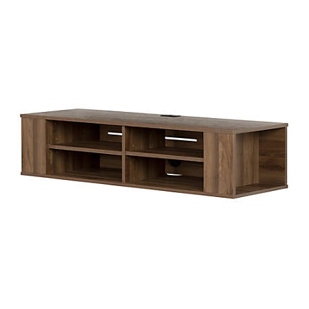 "South Shore City Life Wall-Mounted Media Console, 11-1/2""H x 49-1/2""W x 16-1/4""D, Natural Walnut"