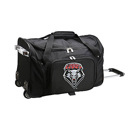 "Denco Sports Luggage Rolling Duffel Bag, New Mexico Lobos, 22""H x 12""W x 12""D, Black"