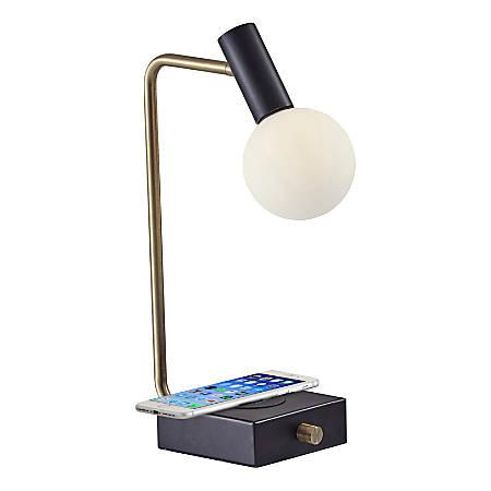 "Adesso® Windsor Wireless Charging Desk Lamp, 17-1/2""H, White Shade/Black Base"