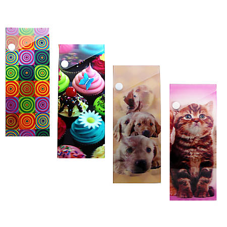 """Inkology Lenticular Snap Pencil Cases, 7-1/2""""H x 3""""W x 1-5/16""""D, Assorted Designs, Pack Of 24 Cases"""