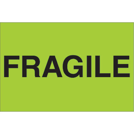 "Tape Logic® Preprinted Shipping Labels, DL1056, Fragile, Rectangle, 2"" x 3"", Fluorescent Green, Roll Of 500"