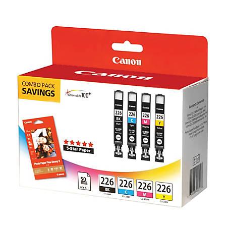 Canon CLI-226 ChromaLife 100+ Black/Color Ink Tanks & 50 Sheets Of Paper (4546B007)