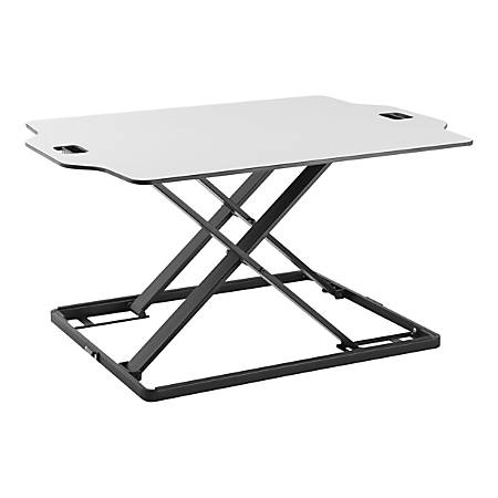 "Amer Mounts Ultra Slim Height Adjustable Standing Desk- White Finish - 22.05 lb Load Capacity - 31.3"" Width x 21.3"" Depth - Desktop - Steel, Board, Plastic, Iron - White"